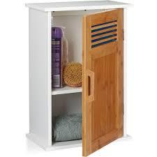 badhängeschrank wc hängend mdf bambus eintürig 2 fächer badezimmerschrank 51 5 x 35 x 20 cm weiß natur