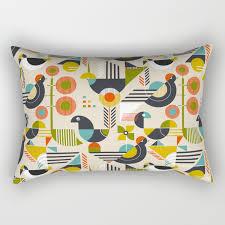 100 Bauhaus Style Style Birds Rectangular Pillow