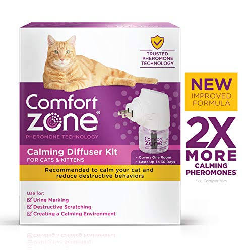 Comfort Zone 2X Pheromone Formula Calming Diffuser Kit - for Cat Calming, 1 Diffuser, 1 Refill
