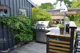 outdoorküche mit edelstahl gasgrill stockfoto und mehr bilder bambus graspflanze