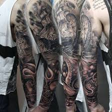 Guy With Octopus Ship Nautical Full Arm Sleeve Tattoo