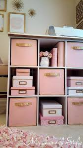 Pink And Gold Painted Fabric Storage Bins Girls Bedroom IdeasMint