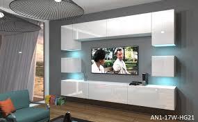 wohnzimmer set 9 einzelteile anbauwand wohnwand wohnwände schrankwand modernes wohnzimmer neu nowara nx 1 weiß hochglanz