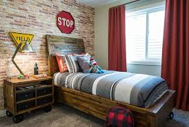 View In Gallery Awesome Industrial Kids Room With Bed And Nightstand On Wheels Design Rochelle Cote
