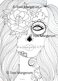 Adult Coloring Page Sugar Skull Girl Art Day Of The Dead Dia