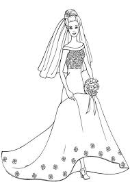 Barbie In Beautiful Wedding Dress Coloring Pages