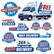 100 Signs For Trucks Set Of Blue Delivery With And Stars Royalty Free