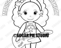 Personalized Printable Rockstar Birthday Party Favor Childrens Kids Coloring Page Book Activity PDF Or JPEG File