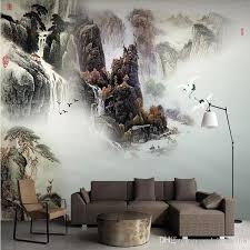 großhandel chinesische 3d stereotapetentinte landschaftslandschaft chinesische malerei wohnzimmer sofa tv hintergrund wand papier wandbild