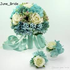 Blue & Cream Ivory Rose Wedding Bridal Bouquet Banquet Party