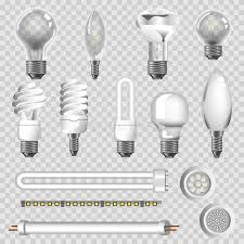 3d ls types of led bulbs vector isolated icons stock vector