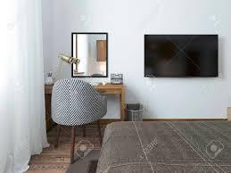 tv hängt an der wand und schreibtisch im schlafzimmer auf dem dachboden stoff bequemer stuhl mit einer gestreiften textur 3d übertragen