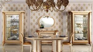 Wonderful Decorating Italian Dining Tables Gold Painted Cabinet For Luxury Room Ideas With Antique Set