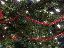 RED CLEAR BEAD CHRISTMAS TREE GARLAND