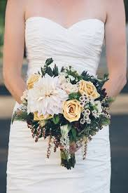 Top Ten Rustic Wedding Bouquet Dahlia Yellow Roses Succulents Wild Flowers