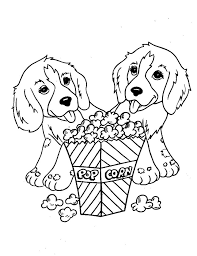 Two Dogs Eat Pop Corn Coloring Pages For Kids Printable