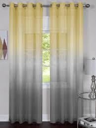 grey yellow 2 piece rainbow ombre grommet sheer curtain panel