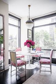 Grey Rug Contemporary Dining Room Pink Chairs
