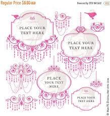 SALE Chandelier Retro Frames Pink Silhouette Elegant Ornate Border Png Files Cardmaking Wedding Invites Scrapbook Vintage Clip ArtInvitation