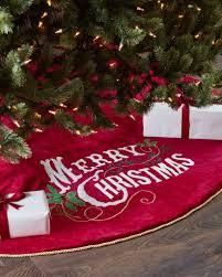 Vintage Merry Christmas Velvet Tree Skirt And Santa Bag By Balsam Hill