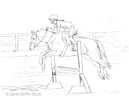 Horse Coloring Sheet Jumping Pages Draw A Show Realistic