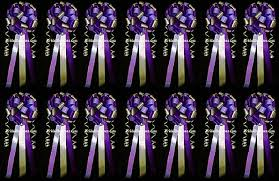 Set Of 14 Purple Lavender Silver Wedding Bows Pew Church Decorations