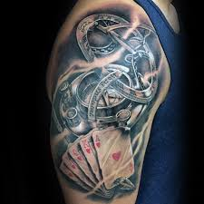 Cool Compass Playing Card Mens Upper Arm Tattoos