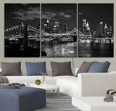 LARGE Wall Art Canvas Print Brooklyn Bridge And New York City Skyline Black White