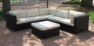 Amazon CC Outdoor Living Black Resin Wicker Outdoor Furniture Sectional Sofa Set Beige Cushions Outdoor And Patio Furniture Sets Garden &