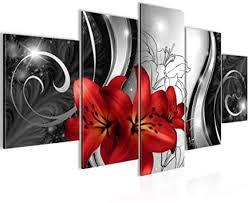 bilder blumen lilien 5 teilig bild auf vlies leinwand deko wohnzimmer rot schwarz weiss 208452c