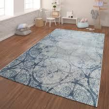 moderner kurzflor teppich geometrisch blau