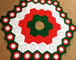 Christmas Tree Skirt In Red White And Green Traditional Colors Wedding Gift Present For