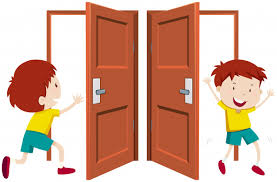 Boy going in and out the door Vector