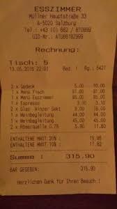 rechnung picture of restaurant esszimmer salzburg
