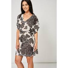 monochrome belted shift dress with tropical print look love lust