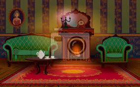 sticker wohnraum mit kamin sofa und sessel im wohnzimmer auf dem tisch