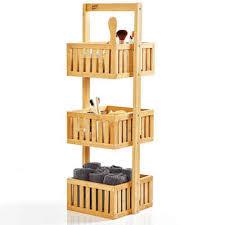 bambuswald duschregal 1 tlg mit 3 ablagefächern aus 100 bambus freistehend ca 82 5x27x26cm badregal holzregal standregal küche badezimmer