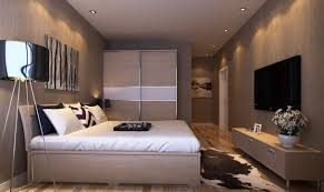 Master bedroom interior design with TV wall and wardrobe Bedroom