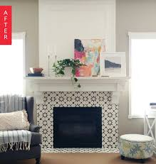 Batchelder Tile Fireplace Surround by Chalk Painted And Stenciled Tile Fireplace Augusta Tile Stencil