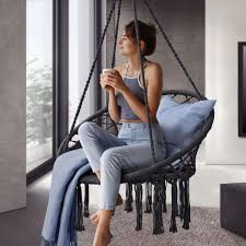hängesessel cadras 60 cm breites kissen indoor hängekorb 120 kg belastbarkeit für kinder erwachsene einfache aufhängung boho anthrazit juskys
