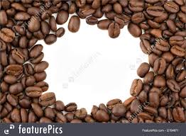 Beverage Ingredients Coffee Beans Forming A Border With Copy Space White Background