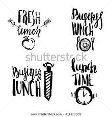 Set Of Lunch Time Hand Drawn Lettering With Plate Spoon And Fork Can Be