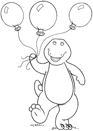 Barney Carrying Balloons Coloring Pages For Kids Printable