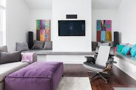 Grey And Purple Living Room Ideas by Grey Purple Living Room Contemporary With Leather Lounge Chair