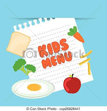 Kids Menu Design Over Blue Background Eps