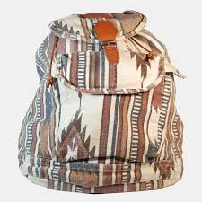 sac a dos toile sac à dos en toile imprimé aztèque et empiècement cuir camel