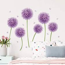 decalmile wandtattoo pusteblume lila wandaufkleber löwenzahn blumen wandsticker mädchen schlafzimmer wohnzimmer tv wand wanddeko