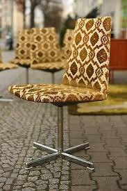 true vintage 1x 70er jahre stuhl gemusterter esszimmerstuhl
