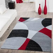 designer teppich rot meliert modern