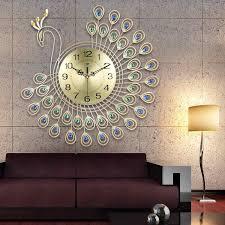 große 3d gold diamant pfau wanduhr metall uhr für home